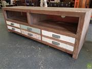 Sale 8601 - Lot 1294 - Shabby Chic Entertainment Unit with Three Drawers (H: 52 W: 150 D: 45cm)