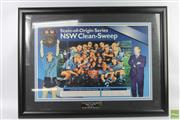 Sale 8618 - Lot 24 - Framed Photograph Commemorating the NSW Blues Clean Sweep Victory over QLD in 1996 (signed by Brad Fitler and Phil Gould)