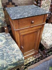 Sale 8634 - Lot 1095 - 19th Century French Oak Bedside Cabinet, with black marble top, a drawer & panel door