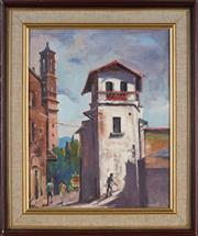 Sale 8978 - Lot 2081 - Gwen Pratt (1917 - ) - A Street In Taxco, Mexico 35.5 x 28 cm (frame: 48 x 41 x 4 cm)