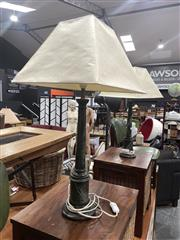 Sale 8896 - Lot 1042 - Pair of Faux Marble Table Lamps