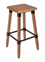 Sale 8957T - Lot 60 - A Pair Square stools. Solid Elm in a natural finish. Metal fixtures and bottom foot bars W40 x D40 x H72