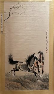 Sale 8985 - Lot 74 - A Scroll of Horses Galloping, Ink and Colour on Paper