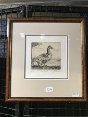 Sale 8990 - Lot 2036 - James Crisp (1879 - 1962) The Gander drypoint etching ed. 17/35, 31 x 29 cm (frame) signed
