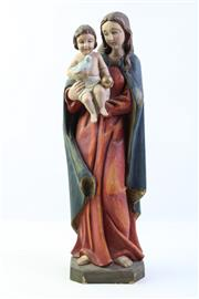 Sale 9003C - Lot 660 - Painted polychrome timber figural group of Madonna and child (H50cm), some losses to paint