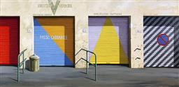 Sale 9099A - Lot 5028 - Jeffrey Smart (1921 - 2013) - Four Closed Shops 58 x 110 cm (sheet)