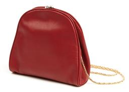Sale 9091F - Lot 11 - A PRINCE RED LEATHER PURSE; with diamonte clutch clasp and gold chain, H17cm