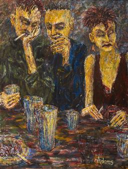 Sale 9099A - Lot 5007 - Geoffrey Adams - Friday Night at the Trade 89.5 x 69.5 cm (frame: 96 x 75 x 3 cm)
