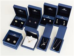Sale 9120K - Lot 27 - Five pairs of Swarovski crystal earrings and three necklaces in assorted colours and styles.