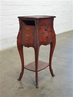 Sale 9154 - Lot 1068 - French style elevated bedside, missing drawer (h:70 x w:33 x d:17cm)