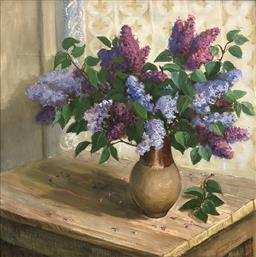 Sale 9245J - Lot 70 - Russian school - Still Life with Flowers signed & dated 2000