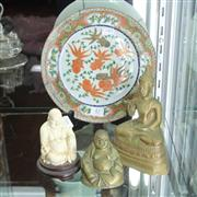 Sale 8351 - Lot 47 - Chinese Famille Rose Fish Plate with 3 Buddha Figures