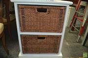 Sale 8431 - Lot 1073 - Small Painted Cabinet with Rush Drawers
