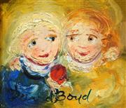 Sale 8504 - Lot 555 - David Boyd (1924 - 2011) - Children and Red Apple 16 x 18.5cm