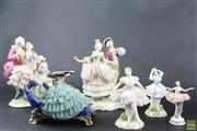 Sale 8581 - Lot 29 - Bavaria Porcelain Figures of Couples Dancing Together with Others ( 6)