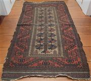 Sale 8595A - Lot 9 - A Baluch Persian wool prayer carpet the centre motif tree of life with hooked boarder, distressed, 170 x 91cm