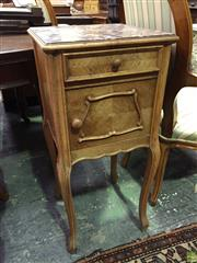 Sale 8634 - Lot 1079A - Early 20th Century French Walnut Bedside Cabinet, with brown mottled marble top, a drawer & shaped panel door, on cabriole legs