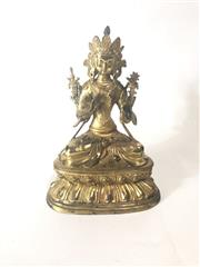 Sale 8739C - Lot 16 - Bronze Boddisatva On Double Lotus Base H:28cm
