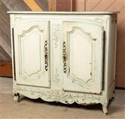 Sale 8871H - Lot 161 - A French two door commode in the antique taste with iron door furniture and hinges with internal shelf, from Country Trader Height 1...