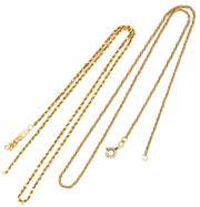 Sale 8937 - Lot 308 - TWO 14CT GOLD CHAINS; a foxtail chain with bolt ring clasp, other a rope chain broken at clasp, lengths 42cm, total wt. 7.69g.