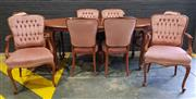 Sale 9006 - Lot 1097 - Timber Nine Piece Dining Setting incl. Table and 8 Chairs with 2 Carvers (Table - h:78 x l:150 x w:91cm)