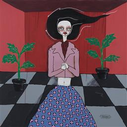 Sale 9150 - Lot 566 - JODEE KNOWLES Woman With Potted Plants acrylic on canvas 100 x 100 cm signed lower right