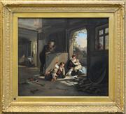 Sale 8297 - Lot 570 - Artist Unknown (19Cth European School) - Playing with Kittens 47.5 x 55cm