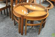 Sale 8338 - Lot 1086 - Circular Nathan Teak Nest of Tables with Glass Top