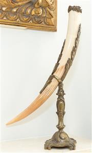 Sale 8338A - Lot 16 - A brass mounted cornucopia, H 39cm