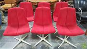 Sale 8409 - Lot 1069 - Good Set of Six Knoll Upholstered Dining Chairs in Red