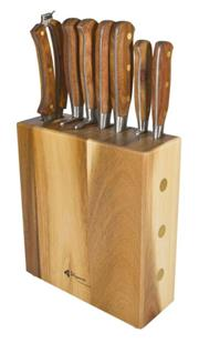 Sale 8446A - Lot 100 - Laguiole Louis Thiers Sequoia Wood Handled 8-Piece Kitchen Knife Set with Block