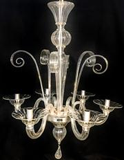 Sale 8516A - Lot 7 - A six branch Barovier & Toso chandelier (Murano Venezia Italia), a beautiful blown glass Murano chandelier combining old world craft...