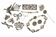 Sale 8527 - Lot 317 - VINTAGE SILVER MARCASITE JEWELLERY; 6 brooches, 1 pin, 2 pairs of earrings (clip and screw fittings), 1 ring, and 1 bracelet, total...