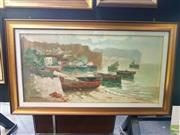 Sale 8640 - Lot 2037 - A. de Simone - Italian Coast Scene with Moored Boats 81 x 140 cm (frame size)