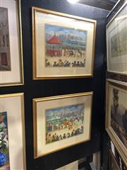 Sale 8856 - Lot 2012 - 2 Works: B Boni City Fete oil paintings, each 64.5 x 74.5cm (frame) and signed