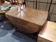 Sale 8988 - Lot 1054 - Oak Dropside Sofa Table (H:76 W:132 D:88cm)