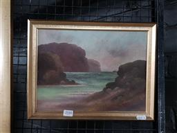 Sale 9127 - Lot 2048 - Charles Young Steam Ship Sailing into a Harbour oil on academic board, frame: 27 x 35 cm, signed lower right -