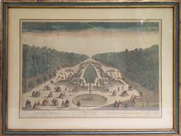 Sale 9142A - Lot 5039 - C18TH FRENCH ENGRAVING - Vue dOptique No52 Salle des Festins dans les jardins de Versailles, c1761 30 x 42 cm (frame: 41 x 54 cm)