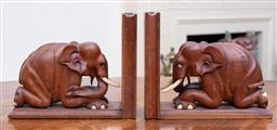 Sale 9190H - Lot 89 - A pair of timber elephant bookends, Height 16cm x Length 20cm