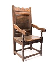 Sale 8620A - Lot 40 - An 18th Century oak Wainscot chair, H 122 x W 54 x D 52cm