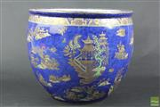 Sale 8512 - Lot 23 - Carlton Ware Stoke on Trent Blue Glaze Jardiniere with Oriental Village Motif