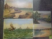 Sale 8561 - Lot 2054 - Artist Unknown (C19th) (4 works) Coastal Township; Tall Ships at Sea; Beach Scene; Country Cottage and Bridge, oils on academic bo...