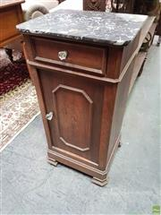 Sale 8634 - Lot 1020 - 19th Century French Walnut Bedside Cabinet, with mottled black marble top, a drawer & panel door