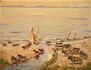 Sale 8675 - Lot 559 - Norman Lloyd (1897 - 1983) - Spanish Fighting Bulls, Iberian Coast Spain 69 x 90cm
