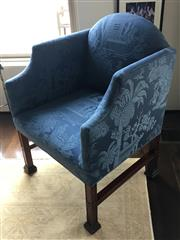 Sale 8782A - Lot 50 - A Georgian style mahogany club chair of generous proportions with stretcher base, upholstered in vintage blue silk chinoiserie fabri...