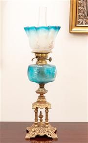 Sale 8804A - Lot 117 - An Edwardian pergoda base kerosene lamp with blue mary Gregory style fond and double burner, Height 70cm