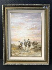 Sale 8953 - Lot 2056 - Italian School Morning Catch oil, 93 x 73cm (frame), signed lower right