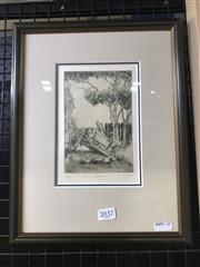 Sale 8990 - Lot 2037 - James Crisp (1879 - 1962) Farm Corner etching ed. 25/50, 33 x 26cm (frame) signed lower