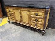 Sale 9034 - Lot 1093 - Timber Sideboard with Scrolled Metal base and Faux Marble Top (h:88 x w:178 x d:53cm)