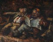 Sale 9047 - Lot 502 - Zoltan Fenyes (1924 - 1997) - The Morning News 29 x 36.5 cm (frame: 41 x 47 x 4 cm)